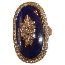 Vintage Gold Filled Over Silver Blue Enamel, Seed Pearl and Marcasite Ring