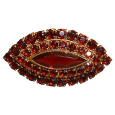 Vintage Czech GARNET Tiered Brooch Pin Brooch