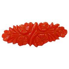 Vintage Cherry Red Floral Carved Oval BAKELITE Brooch