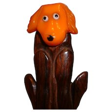 Vintage BAKELITE and Wood Dog Pin with Movable Head