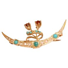 Vintage Victorian Marked 14k Gold Pin Brooch w Rubies and Seed Pearls and Turquoise