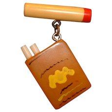 Vintage Bakelite and Celluloid Cigarette Pack Pin Brooch