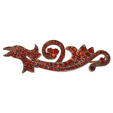 Vintage Victorian Style GARNET Pin Shaped like a Dragon Pin Brooch