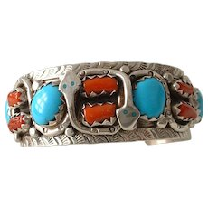 Signed Native American Sterling Silver Turquoise and Coral Bangle Bracelet Cuff