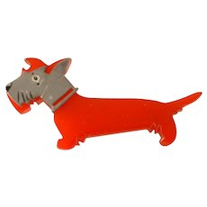 Vintage Adorable BAKELITE Red Dog with Painted and Attached Chrome Face Pin Brooch