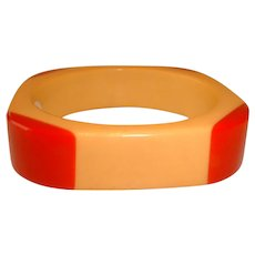 Vintage Bakelite Red and Cream Rounded Corners on Square Bangle