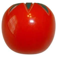 Vintage Realistic Figural BAKELITE Tomato Pin Brooch