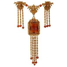 Vintage Signed GOLDETTE Long Necklace and Dangling Earrings Set