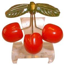 Vintage BAKELITE Cherries on Metal Stems Hanging From BAKELITE Leaves Pin Brooch