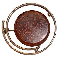 Vintage 1960's MCM Signed Aarikka Finland Sterling and Wood Pin Brooch
