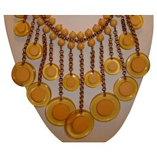 Vintage Outrageous BAKELITE Butterscotch Circle Within Apple Juice Dangles on Chain Necklace
