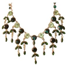 Vintage Austrian Green Rhinestone Dangles Necklace