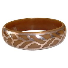 Vintage Celluloid Silver Overlay Bangle - Bakelite Era