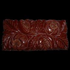 Vintage Huge Chunk of Floral Heavily Carved Deco Bakelite Pin Brooch