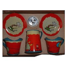 OHIO ART Tin Lithograph MIB TOY Tea for Two Set #104