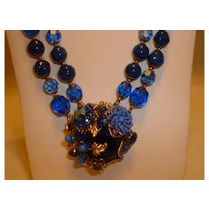 Vintage Signed DeMario Deep Royal Blue Glass Bead and Rhinestone Necklace w/ Center Drop