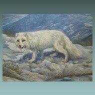 Arthur Spencer Roberts 1920-1977 Artic Fox in Wild Landscape Oil on Canvas 1950s