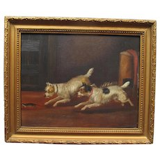 Antique English Oil on Board Two Terrier Dogs Pursuing a Rat