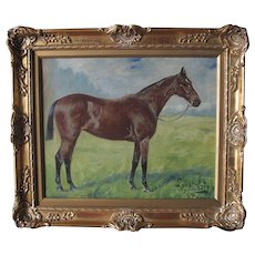 Race Horse by Geo George Paice 1854-1924 Antique c. 1900 oil on canvas painting English