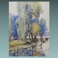 Scottish School Alex R Gibson 1880-1968 Watercolour of Carlingwark Lock Scotland Watercolor Painting