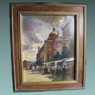 Mid 20th Century Oil on Board of a Market in North Africa Matir Tunisia