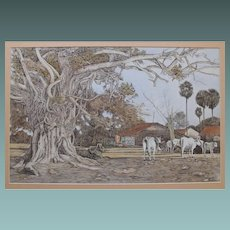 Asian Indian Village with Sacred Cows by Contemporary artist Sunil Guha 1980 Ink and Watercolour Watercolor Painting