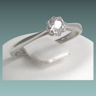 Solitaire Diamond Ring set in 9ct White Gold Late Art Deco Period