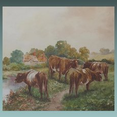 English Watercolour of Cows Watering in an English Pastoral Landscape Frederick Parr 1887 -1970 Watercolor 1920s/30s