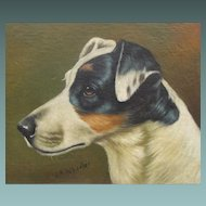 Jack Russell Dog Terrier Oil on Canvas Painting English Manner of and After J A Wheeler