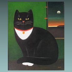 Black and White Cat by Martin Leman 1934- Acrylic in Board