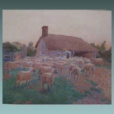 Sheep at Sunset Antique watercolour/watercolor painting by Elizabeth Brinton fl. 1885-1918