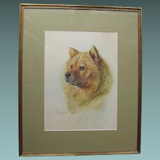 ORIGINAL Watercolour by Lucy Dawson 1867-1954 Dog Chow Watercolor
