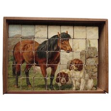 Antique English Block Puzzle Farmyard Animals - cat dog horse duck goose sheep cows hens chickens  Children's Toy in Original Wooden Box