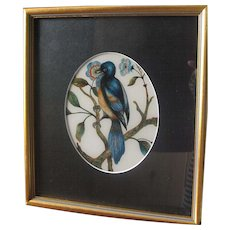 Antique English Painting on Glass of a Song Bird - Victorian