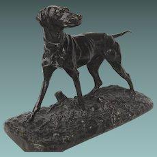 Antique Bronze of a Pointer Dog French PJ Mene French Animalier