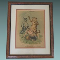 1880 Louis Wain ORIGINAL Chromolithograph Cats 'CatAstrophe' Football