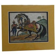 'The Arab Steed' Original Antique Print c.1820 Hand Coloured