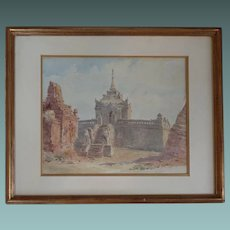 English Antique Watercolour Painting of Angkor Wat Temple Cambodia c. 1880-90 Topography