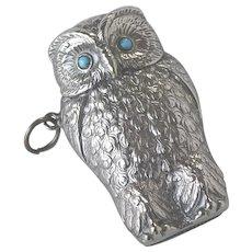 Antique English Owl Vesta Match Safe Victorian Silver Plated