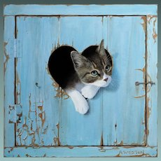 Kitten Cat Trompe L'Oeil Painting by Alan Weston English 2016 Oil on Canvas Cat Contemporary