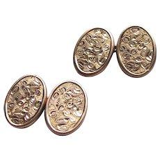 9ct Gold Bright Cut Cufflinks Antique Edwardian Full English Hallmarks  Cuff links