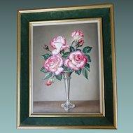 1981 Rose 'Handel' Flower Floral Still Life Stilllife Oil on Board James Noble 1981