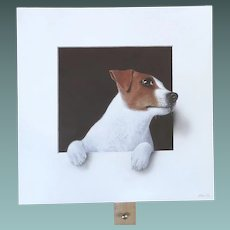 Contemporary Jack Russell Dog Trompe l'Oeil by English Artist Alan Weston 2017