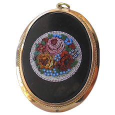 Antique 18ct Gold Italian Micromosaic Brooch Pendant Handmade Art Jewelry Dimensional Micro Mosaic Mini Tesserae Flowers Rose forget me not