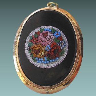 Antique 18ct Gold Italian Micromosaic Brooch Pendant Handmade Art Jewelry Dimensional Micro Mosaic Mini Tesserae Flowers Rose forget me not