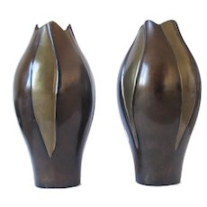 Pair Retro Mid 20th Century Vintage Stylish Bronze Vases