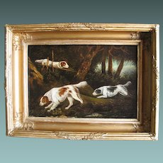 English Antique Georgian oil on Board of Spaniel Dog Dogs c.1800