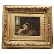 Sheep in the Barn Farm by Augustus Knip 1819-c.1858 Antique Oil Painting on Board Dutch