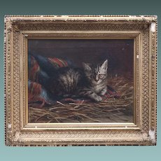 LOVELY Antique Painting of a Kitten in the Stable by Listed Artist M E Greenhill 1879 Oil on Canvas