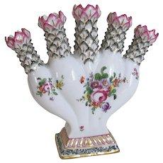 Antique Quintal Flower Vase by Samson, Edmé et Cie (aka Samson Ceramics) Five Stem Vase